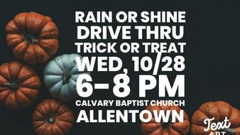 Trick-or-Treat Drive-Thru Tonight, 10/28