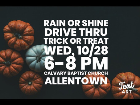 Trick-or-Treat Drive-Thru Tonight, 10/28
