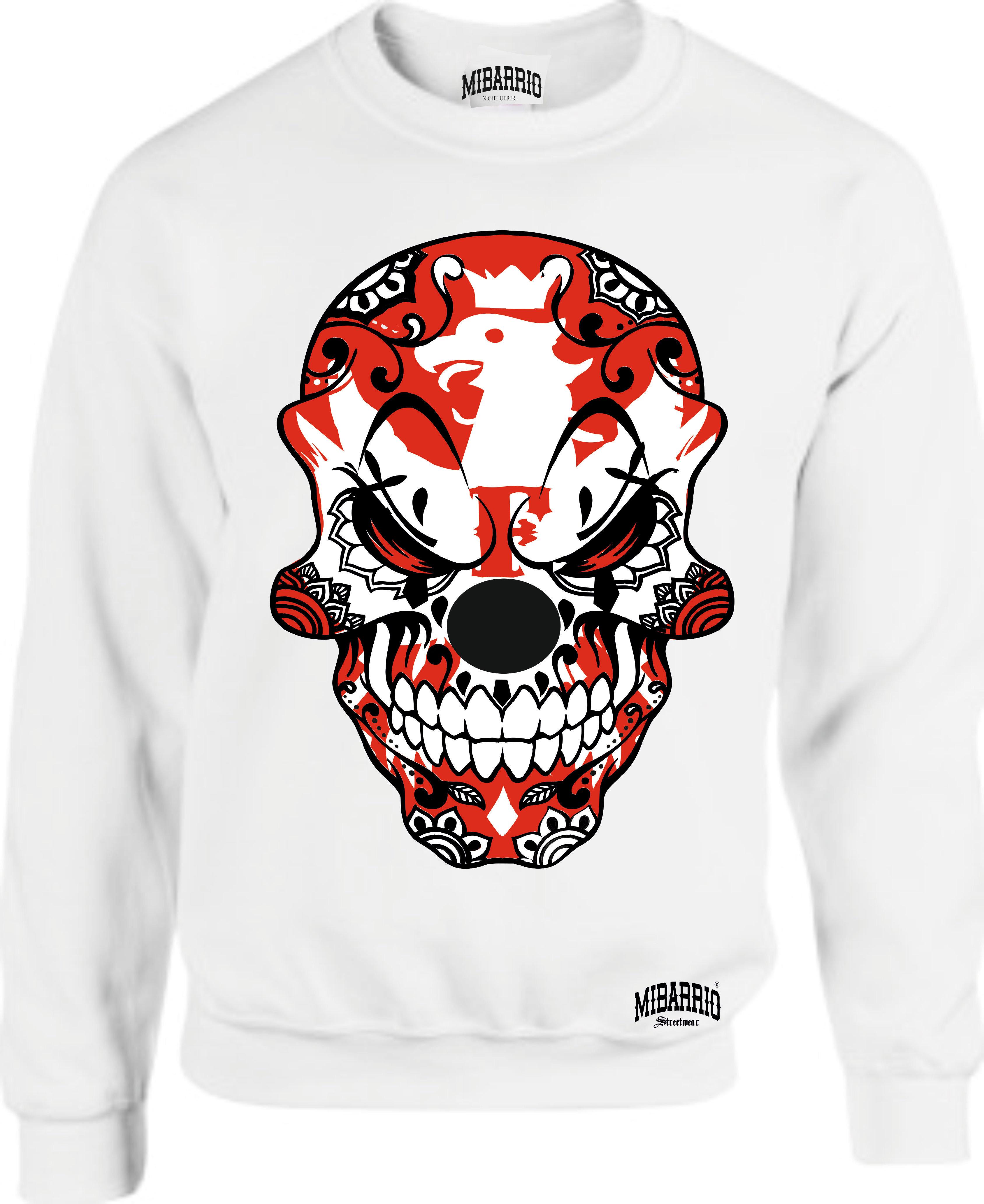 Mi Barrio Big Skull Adler Herren Sweatshirt, Pulli in grau, schwarz und weiß |