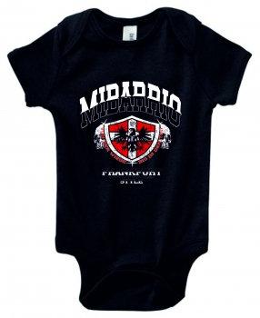Mi Barrio Frankfurt Wappen Babystrampler von der Wiege, schwarz weiß, grau, rosa