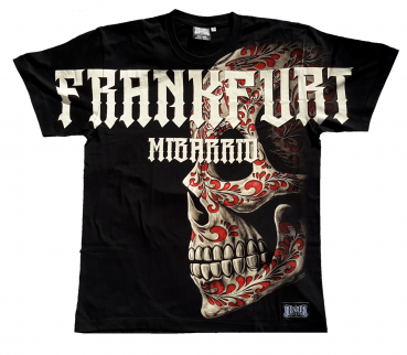 Mi Barrio All Over Skull Herren T-Shirt in schwarz