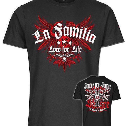 La Familia Eagle Sangre por Sangre, Herren T-Shirt in der Modefarbe Schwarz