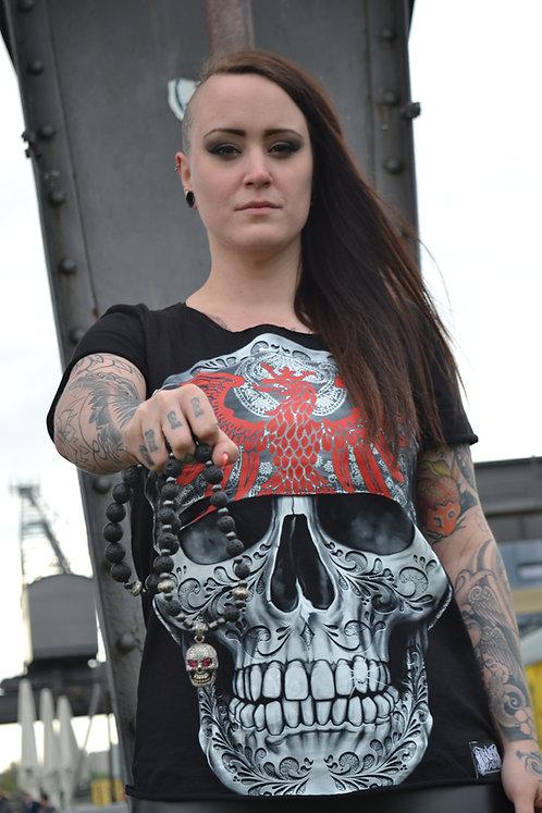Mi Barrio Art Skull Ladies Shirt, Hand- GECUTTE, jedes Shirt ein Unikat