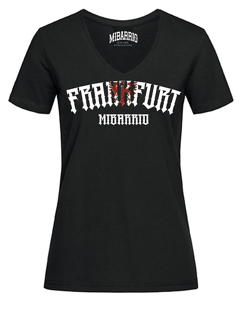 Ladies Mi Barrio Frankfurt V-Neck T-Shirt in grau, schwarz, rot