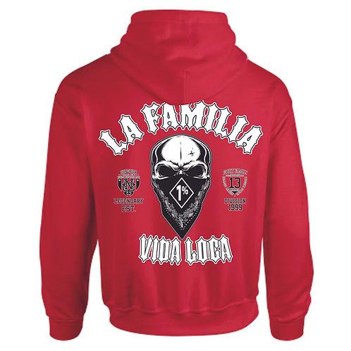 "La Familia Original ""Fuckin Criminal"", Zip Hooded Grau, Rot, Schwarz"