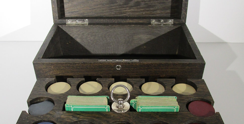 Antique 1940s RUBBER Poker Chips with Wood Caddy