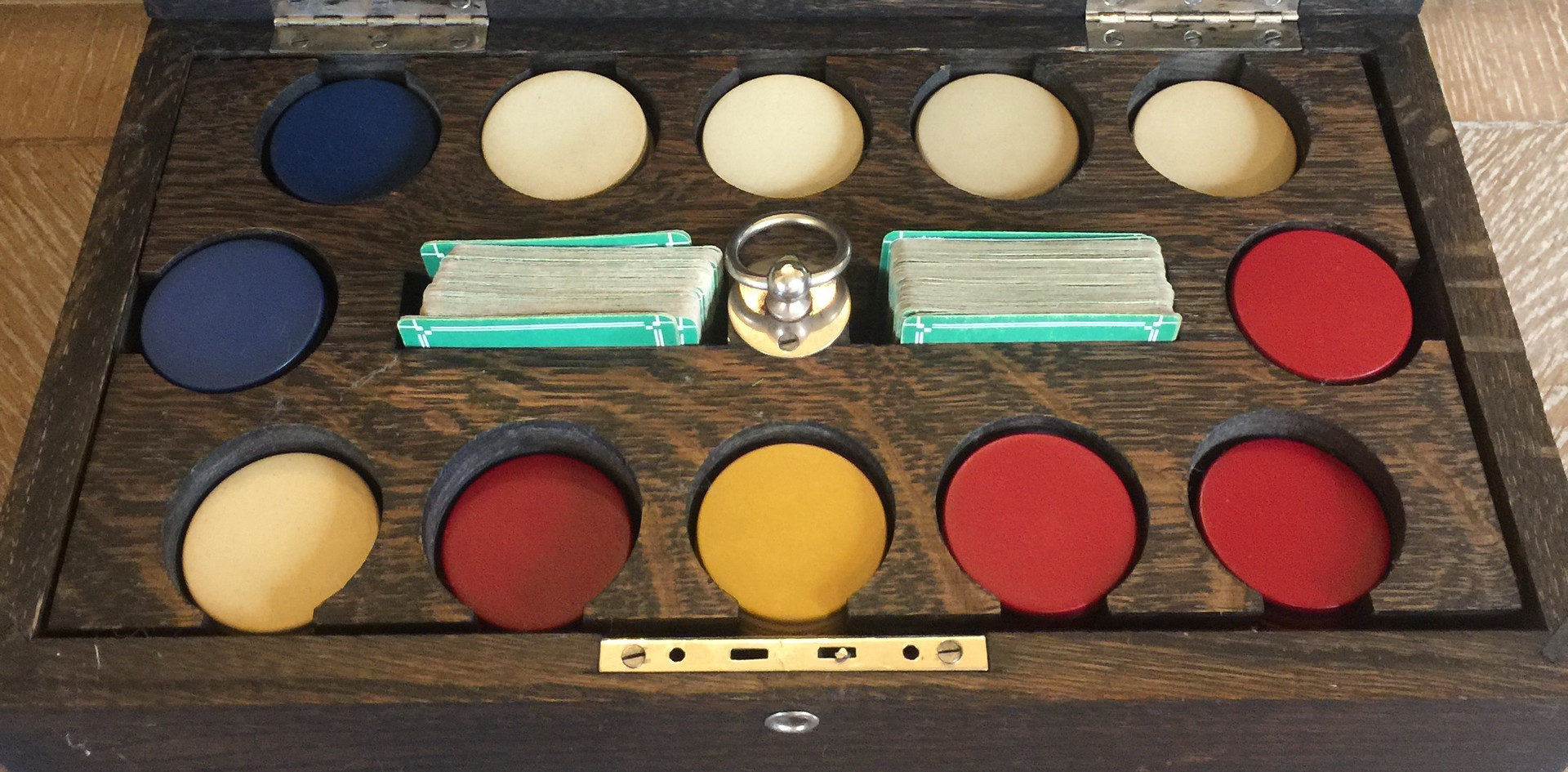 Antique 1940s Rubber Poker Chips with Carrier