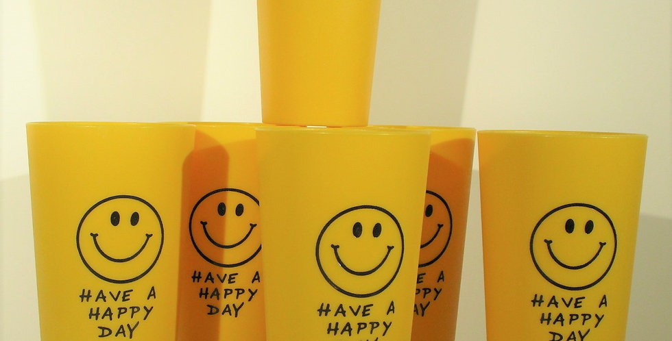 Smiley Face Plastic Stackable Cups - SET/6