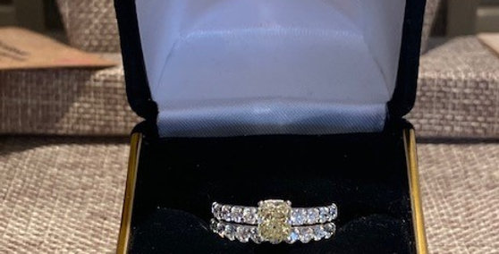 Fancy YELLOW Diamond Engagement Ring w/ Diamond Wedding Band