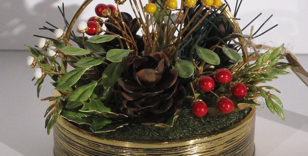 FRANKLIN MINT 24kt Gold Christmas Season Basket