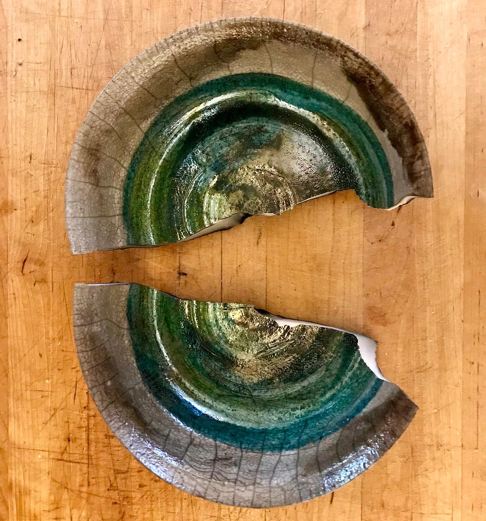 A broken bowl.
