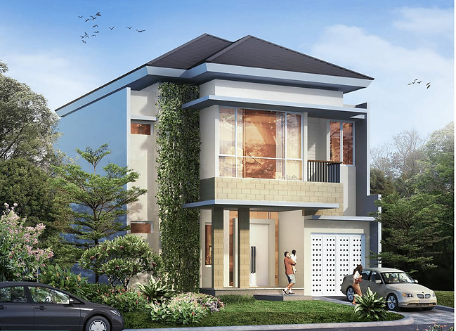 Cluster Goldfinch tipe 10x25 tampak depan summarecon serpong summarecon-residence.com