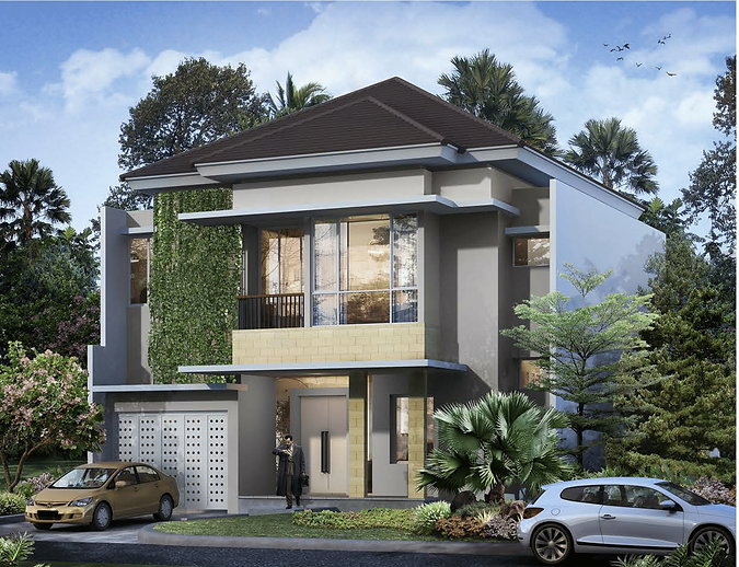 Cluster Goldfinch Tipe 12x25 Tampak depan summarecon serpong summarecon-residence.com