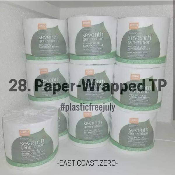 Instead of buying toilet paper that's wrapped in plastic, look for rolls that are individually wrapped in paper! If you can get your family on board with family cloth or install a bidet attachment on your toilet, that's even better!