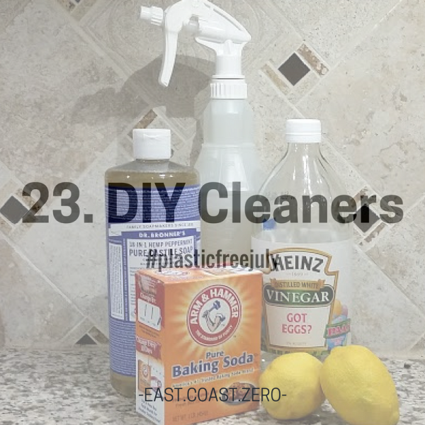 Just like personal care products, many cleaners come packaged in plastic and contain harmful ingredients. Instead, use natural items like vinegar, baking soda, lemon, and castile soap to cover all your bases!