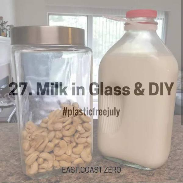 If your family drinks dairy milk, look for milk sold in returnable glass bottles instead of plastic jugs or hard-to-recycle cartons! For non-dairy milk, try making your own nut milk with package-free nuts from the bulk section! Allergic to nuts? Give DIY coconut or oat milk a shot!