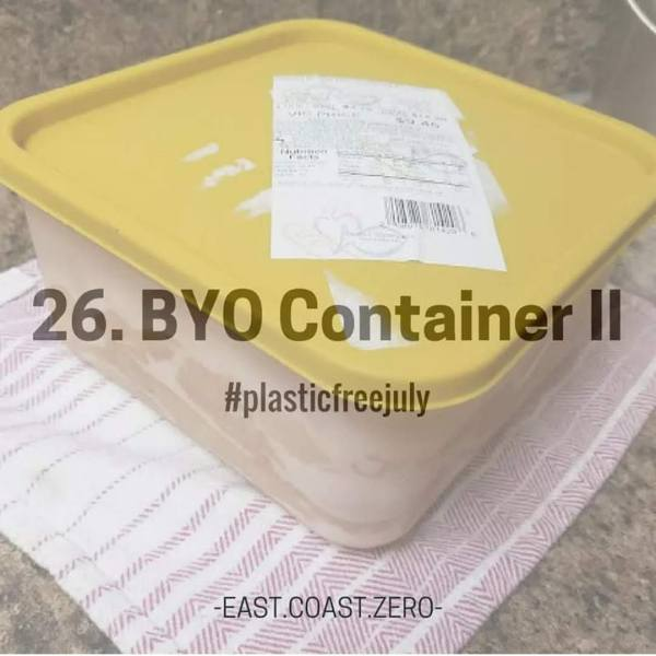 If you're not ready to give up meat, fish, and dairy altogether, try bringing your own container to the butcher and deli counters to be filled in order to avoid the styrofoam trays or possibly-plastic-lined butcher paper!