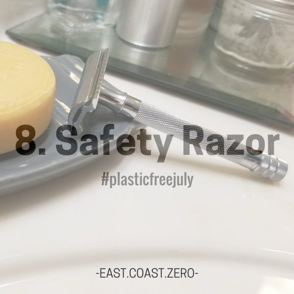 Conventional razors are overpriced and chock full of plastic! Stainless steel safety razors provide you with a close shave that's even suitable for those sensitive parts! The best part is they're ridiculously cheaper than regular razors are – the handle can be pricey ($25+), but that's a one-time investment, and the blades can be purchased $10 for a pack of 100. When it's time to replace my blade, I collect the used one in a jar that will be brought to a scrap metal recycler when full!