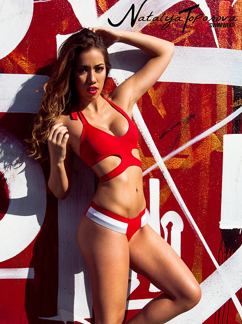 Red Cut Out Elastic Bikini