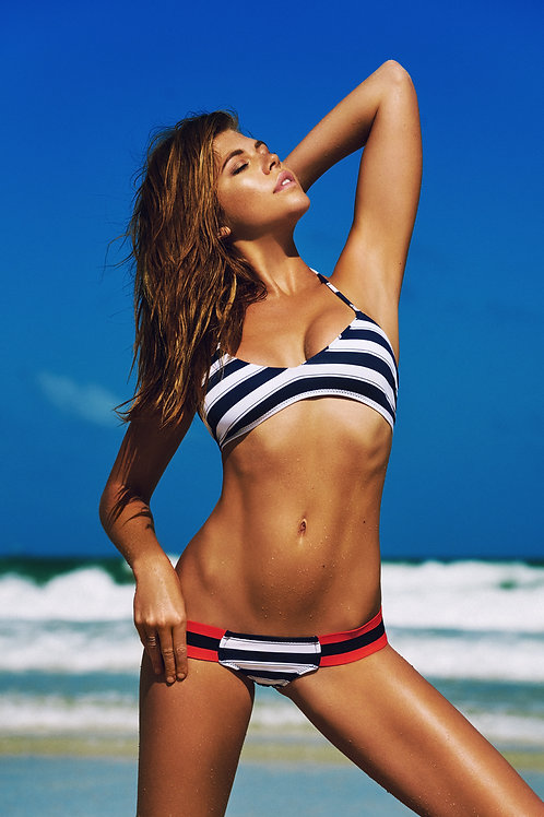 Navy and White Stripes Bikini