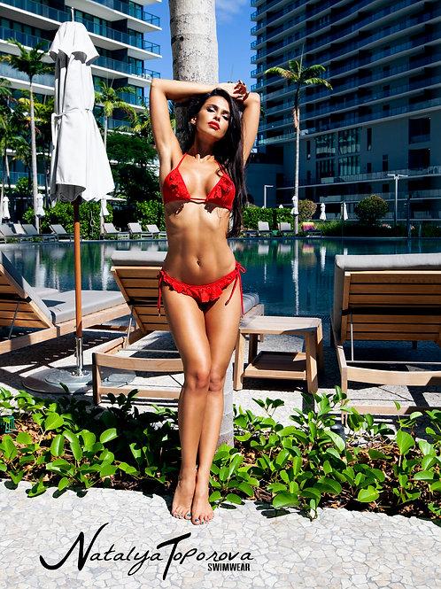 Red Lacey Bikini