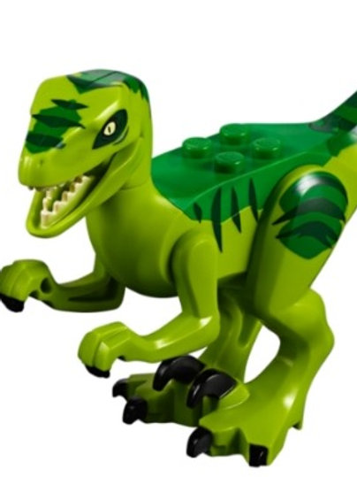 Lego Dinosaur Raptor with Black Claws and Green and Dark Green Back - Complete