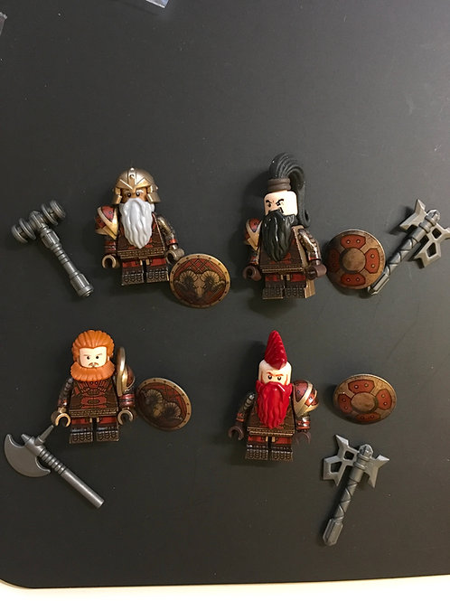 Mines of Moria Dwarves General ( golden red ) x 4 minifigures  HOB005