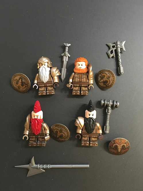Ironhill Dwarves General ( Golden silver ) x 4 minifigures  HOB005
