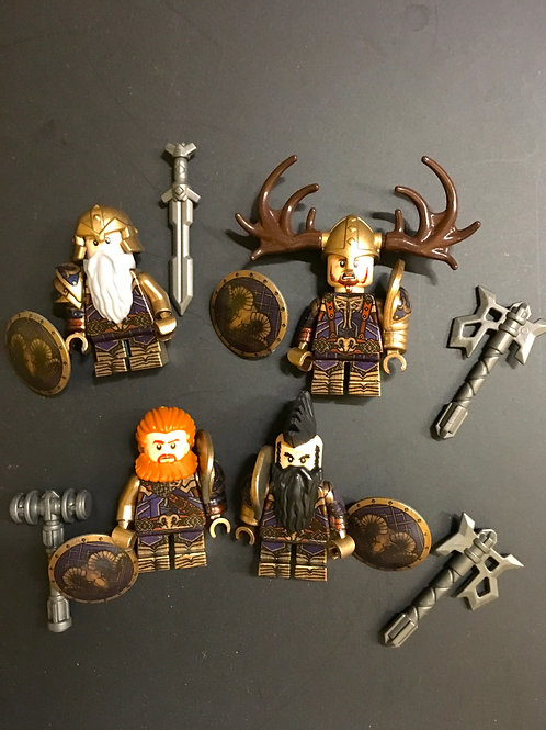 Blue Mountain Dwarves General ( Golden Blue ) x 4 minifigures  HOB006