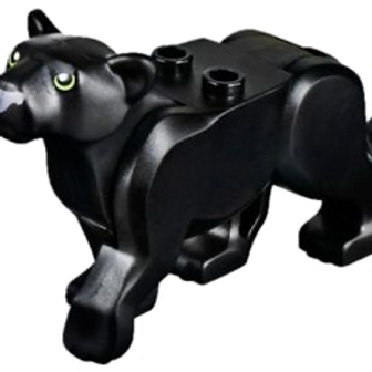 Black Cat, Large (Panther) with Lime Eyes and Dark Bluish Gray Nose