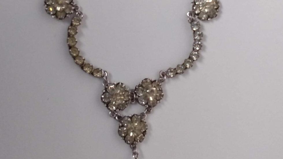 Vintage Floral Diamante Necklace