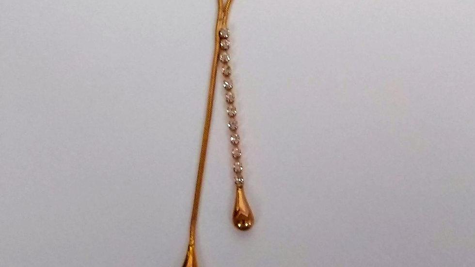 Vintage gold toned and diamante drop necklace