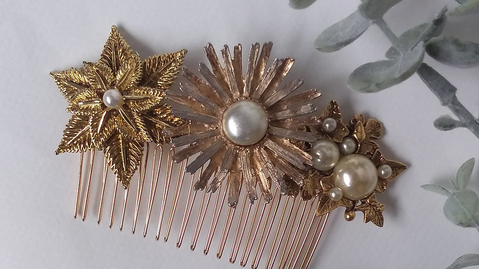 Vintage Gold Bridal Hair Comb