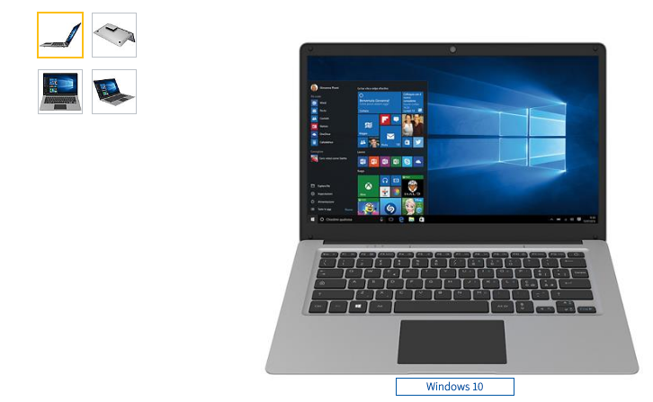 "Notebook convertibile 14"", X5 4 CORE, 4 GB RAM, SSD 32GB, WINDOWS 10, 1 USB 3,0"