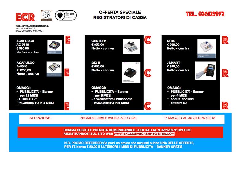 Offerta Speciale registratori per Ambulanti o piccoli negozi