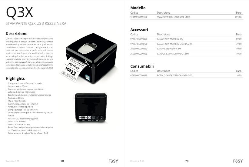 STAMPANTE Q3X WIFI USB RS232 NERA CON CAVO