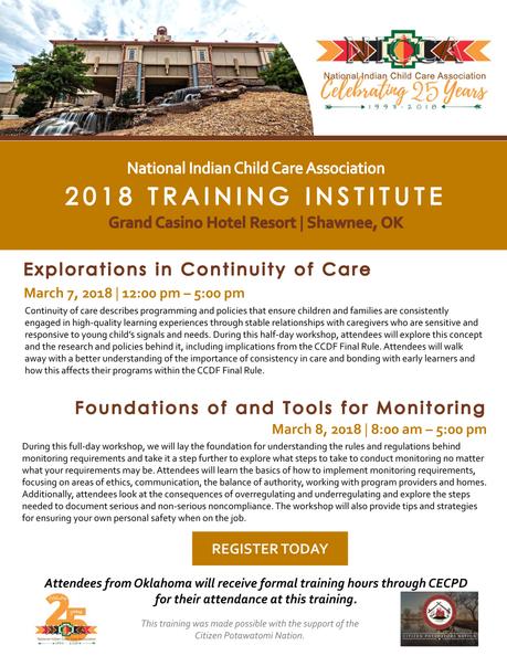 Register today for NICCA's 2018 Training Institute!