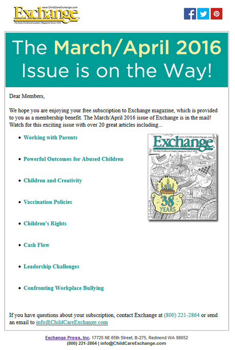 Child Care Exchange Newsletter is on the way!