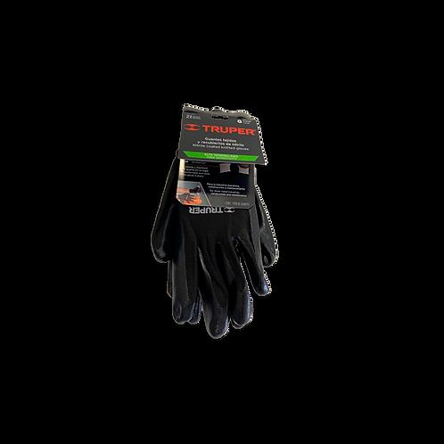 Guantes textiles con recubrimiento de nitrilo, alta sensibilidad, color negro