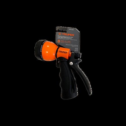 Pistola plástica con 8 funciones color naranja
