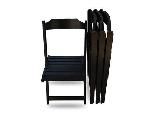 Set of 4 Wood Folding Chairs - Black