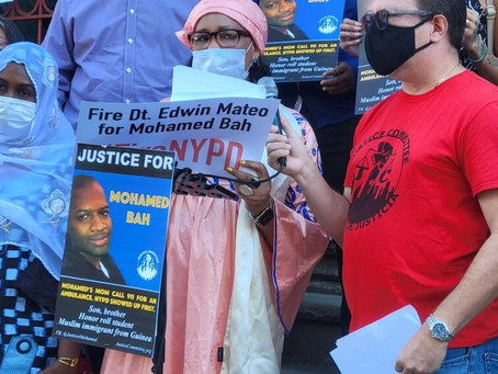 [AmNews] Supporters cont. call for firing of NYPD cop on anniv. of police killing of Mohamed Bah