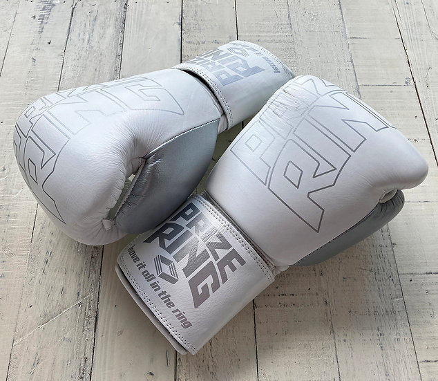 "PRIZE RING ""Professional 5.0"" boxing gloves WH/Silver 10oz/14oz"