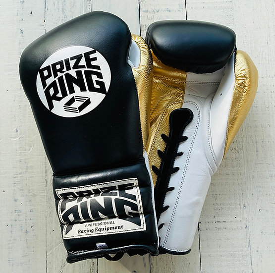 "PRIZE RING ""Pro-Training"" boxing gloves BK/Champagne gold 14oz"
