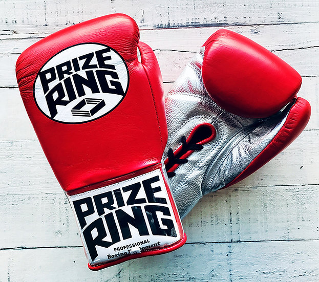"PRIZE RING ""Pro-fight"" boxing gloves Red/Silver 8oz,10oz"
