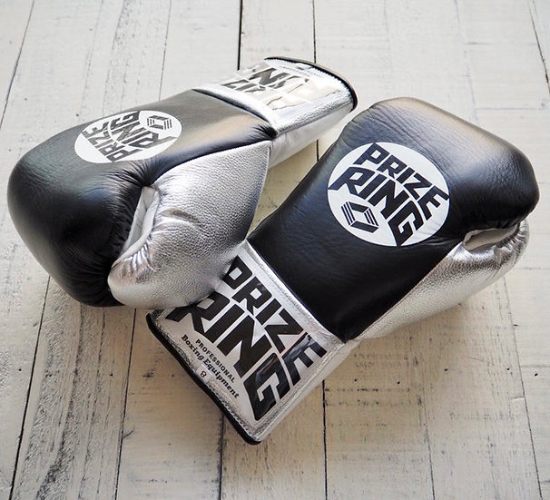 """PRIZE RING """"Pro-fight G10"""" horse hair boxing gloves BK/Silver 8oz/10ozの複"""