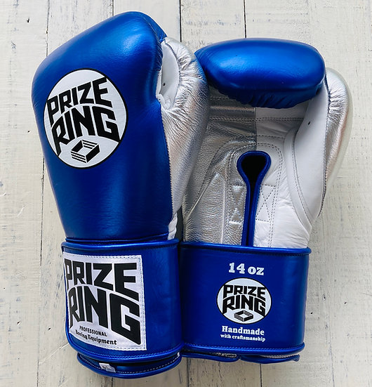 "PRIZE RING ""Pro-Training"" boxing gloves Shinny blue 14oz/16oz"