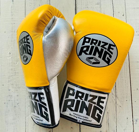 "PRIZE RING ""Pro-Training"" boxing gloves Yellow/Black/Silver 8oz/10oz"