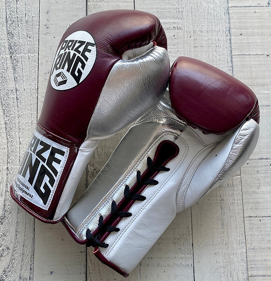 """PRIZE RING """"Pro-Training"""" boxing gloves Maroon/Silver 8oz/10oz"""