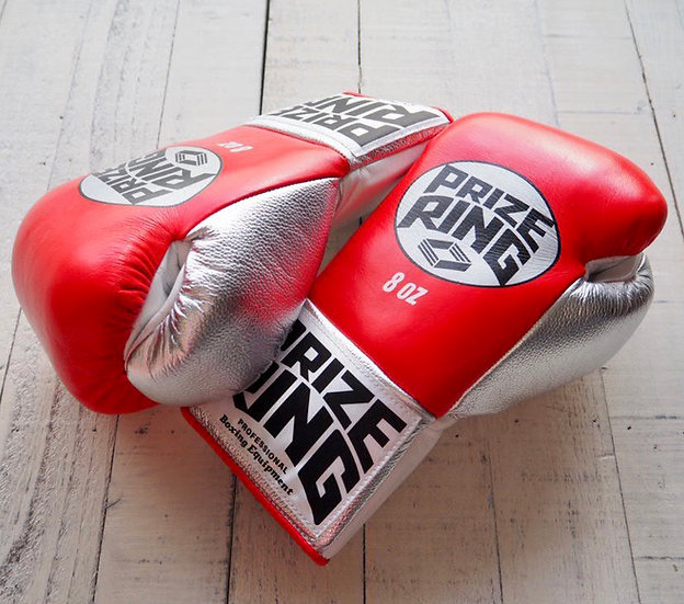 "PRIZE RING ""Pro-fight G10"" horse hair boxing gloves Red/Silver 8oz/10oz"